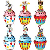 Circus Animal Cupcake Toppers and Wrappers for Carnival Circus Birthday Party Cupcake Supplies -24 Pack Cupcake Toppers and 24 Pack Wrappers
