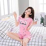 YPDM Conjunto de Pijama Corto de Mujer de Dibujos Animados Estampado de Dibujos Animados Pijamas de Verano Casuales Lindos Pijamas Femeninos, pinkLove, XXL