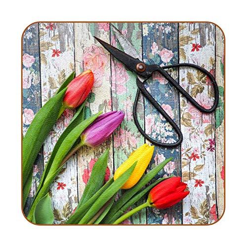 6 posavasos cuadrados de microfibra de piel para bebidas, posavasos decorativos para tipos de tazas y tazas, tijeras retro de tulipán