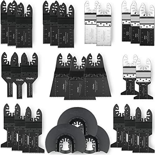 Oscillating Saw Blades, Ohuhu 28Pcs Multitool Quick Release Saw Blades Kit, Metal Wood Plastic Oscillating Tool Blades, For Sanding, Grinding, And Cutting