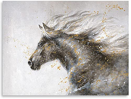 ATELIYISHU Horse Picture Canvas Wall Art Animal Fine Artwork Horse Running Painting Prints Modern Abstract Watercolor Pictures for Bedroom Home Decorations Stretched and Framed 12'x16'