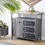 "Deco 79 Industrial Storage Cabinet, 36""L x 16""W x 32""H, Grey"