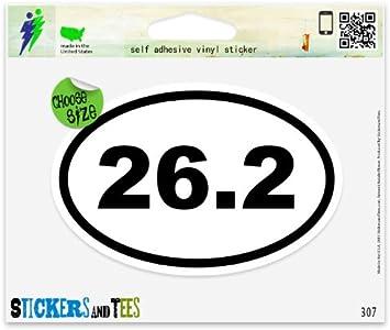 WHITE Vinyl Decal 26.2 euro marathon run running fun sticker