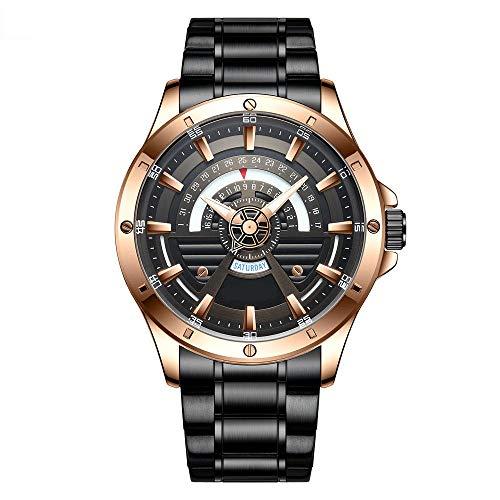 Eantpure Business Casual Reloj,Reloj de Cuarzo Resistente al Agua, Reloj de Hombre con Calendario de Banda de Acero, Reloj de Negocios-C,Impermeable Elegante Relojes