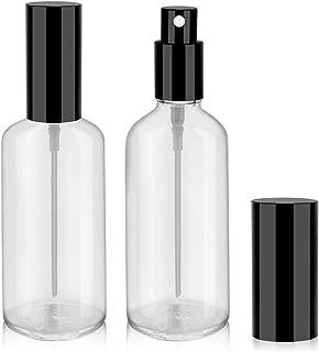 4oz Glass Spray Bottles for Essential Oils, Perfumes, Empty Clear Mist Spray Bottle with Black Aluminum Sprayer - 2Pack