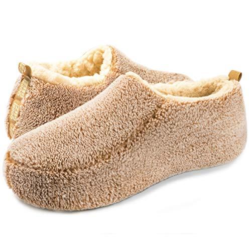 OoohYeah Men's Solid Sherpa Sherpa Tan Sherpa slippers (Large (Size 11/12), Tan)