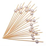 Cocktail Picks Handmade Bamboo Toothpicks 4.7' Multicolor Party Supplies 100 Counts in White Pearl
