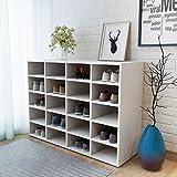 UnfadeMemory Mueble Zapatero con 20 Compartimentos,Gabinete de Zapatos,Organizador de Zapatos,Decoración de Hogar,Patas de Plástico,Madera Aglomerada,92x33x67,5cm (Blanco)