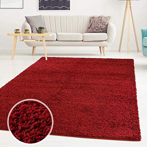 ayshaggy Shaggy Teppich Hochflor Langflor Einfarbig Uni Rot Weich Flauschig Wohnzimmer, Größe: 133 x 190 cm