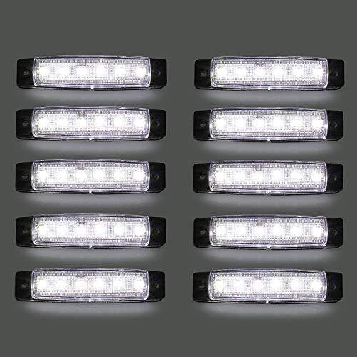 LED-Seitenmarkierungsleuchten, 10 Stücke LED Lkw Seitenlichter 6 SMD LED Seitenmarkierungs-kontrollleuchte Vorne Hinten Seitenlicht Positionslampen 12 V für Auto (Weiß)