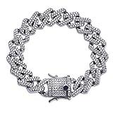 ZIVOM Curb Cuban Brass Cubic-Zirconia Hip Hop Links Silver Rhinestone Bracelet for Men(Silver)