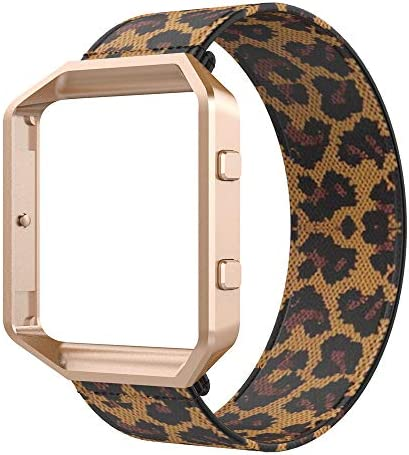 Bands Compatible with Fitbit Blaze Smartwatch Elastic Wrist Band with Meatl Frame Replacement product image