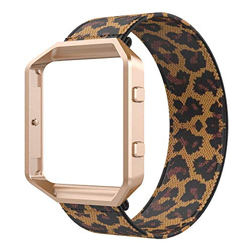 Bands Compatible with Fitbit Blaze Smartwatch,Elastic Wrist Band with Meatl Frame Replacement for Fitbit Blaze.Fit for 6.0-6.4 Inch Man Women's Girls' Wrist (6.0-6.4'', Leopard Band +Rose Gold Frame)