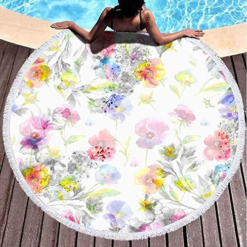 AEMAPE Toallas de Playa para niñas de Secado rápido, Toallas de Playa Suaves, Hermosas guirnaldas Florales, Pensamientos, Flores de Color Lila, Mariposa, Acuarela Pintada, aislada