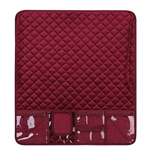 Organizador de almohadillas para máquina de coser, alfombrilla resistente al agua, accesorios para máquina de coser, color rojo