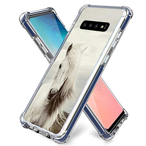 S10 Case Horse,Gifun [Anti-Slide] and [Drop Protection] Soft TPU Protective Case Cover Compatible with Samsung Galaxy S10 Release 6.1' - Fashionable Hair Horse