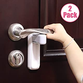 EUDEMON 2 Pack Door Lever Lock,Baby Proofing Door handle Lock,Childproofing Door Knob Lock Easy to Install and Use 3M VHB Adhesive no Tools Need or Drill Easy to Remove (White, 2)