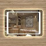 Espejo Moderno de Baño Espejo LED de Pared con Interruptor Táctil+Antivaho+Blanco Frío 6000k+Fácil Instalación