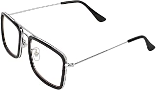 U.S Desire Tony Stark Iron Man Avengers Infinity War Style Square Unisex Sunglasses (H2WQ3L2, Silver Frame, Transparent Lens)