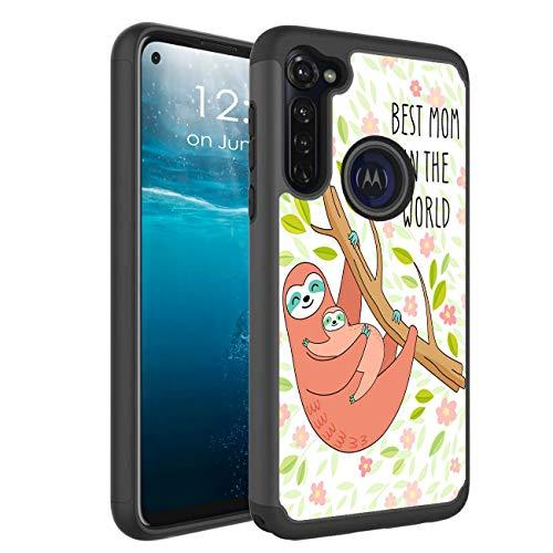 Moto G Stylus Case, BEROSET Heavy Duty Dual Layer Hybrid Hard PC Soft TPU Full-Body Shockproof Protective Phone Case for Motorola Moto G Stylus 2020 - Best Mom in The World Sloth