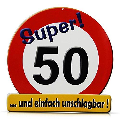 1 RIESENSCHILD SUPER ! 50 D: 50cm PAPPE 50.GEBURTSTAG