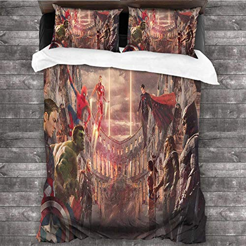 Dearest-Love Bedroom Three-Piece Bedding Avengers vs Justice League ig 80x90 INCH Three-Piece Bed Sheet Set