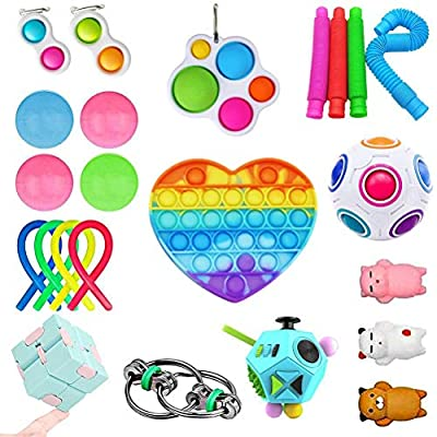 Fidget Toy Packs, Set De Juguetes Sensoriales Fidget Baratos con Simple Dimple Pop Bubble Infinite Cube Stress Ball y Anti Stress Relief Toy Stress Ball de NOEARR