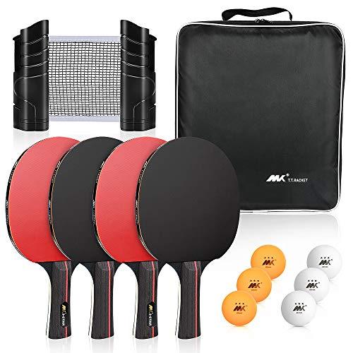 Achort Tischtennis Set mit 4 Premium Tischtennisschlägern und 6 Tischtennisbällen Einziehbares Netz mit Halterungsklemmen, geeignet für Heim- oder Außenspiele (mit Aufbewahrungskoffer)