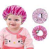 2 Pieces Kids Satin Bonnet Night Sleep Caps, Adjustable Double Layer Sleeping Hats, Showering Caps for Kids Girls Toddler Children Baby (color set 2)
