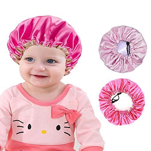 2 Pieces Kids Satin Bonnet Night Sleep Caps, Adjustable Double Layer Sleeping Hats, Showering Caps for Kids Girls Toddler Children Baby
