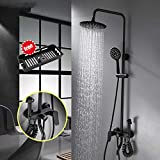 ULGKSD Blacken Shower Faucet W/Bath Bidet ABS Shower Head & Hand Spray Hot and Cold Water Mixer Tap Para Bathroom Faucets