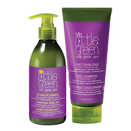 Little Green Super Detangling Duo. Hair Detangler Shampoo and Conditioner Set for Kids with Tangled Hair or Curly Hair. Paraben Free, Vegan, and Sulfate Free Shampoo and Conditioner. 14 Fl. Ounces.
