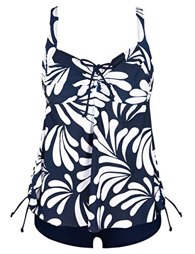 Hilor Women's Retro Drawstring Ruched Halter Floral Tankini Set Two Piece Swimsuit Navy&White 24