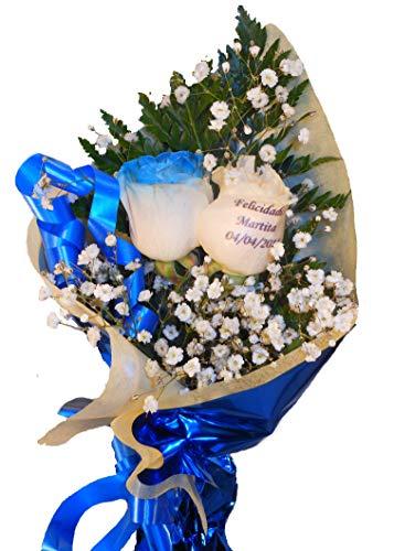 Ramo de rosas naturales a domicilio con una rosa azul y una rosa tatuada con envio y nota dedicatoria incluidos en el precio