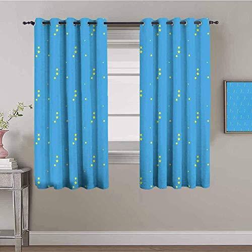 Azbza Verdunkelungsvorhänge für Wohnzimmer – blaue einfache Sterne modern – 90% Verdunkelung 3D-Druck Vorhänge für Mädchen Kinderzimmer Fenster – B 139 x H 160 cm – Lichtfilter Sichtschutz