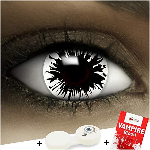 Farbige Kontaktlinsen ohne Stärke Shot + Kunstblut Kapseln + Kontaktlinsenbehälter, weich ohne Sehstaerke in schwar und weiß, 1 Paar Linsen (2 Stück)