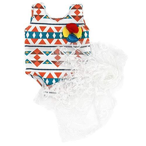 ZWOOS Trajes de baño para muñecas, Ropa de algodón con Bufanda de Malla para 18