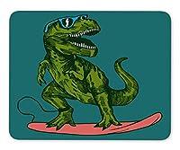 ABin Happy Dinosaur Surfer Wearing Sunglasses Drawing Mouse pad Gaming Mouse pad mice pad Mouse pad The Office mat Mousepad Nonslip Rubber Backing [並行輸入品]