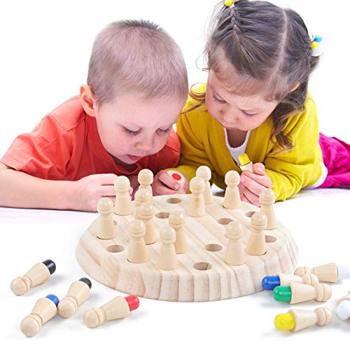 Juguetes de madera para niños de la memoria, el aprendizaje de ajedrez diversión educativa palo de bloque de color juego juego de mesa de regalos Niños Family Party Puzzles