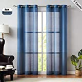 color block drapes - SXZJTEX Blue Ombre Faux Silk Stripe- Color Block Grommet Top Curtains , Window Treatment 2 Panels for Living Room& Bedroom, Drape, 40 Inch Wide x 95 Inch Long, Navy Blue