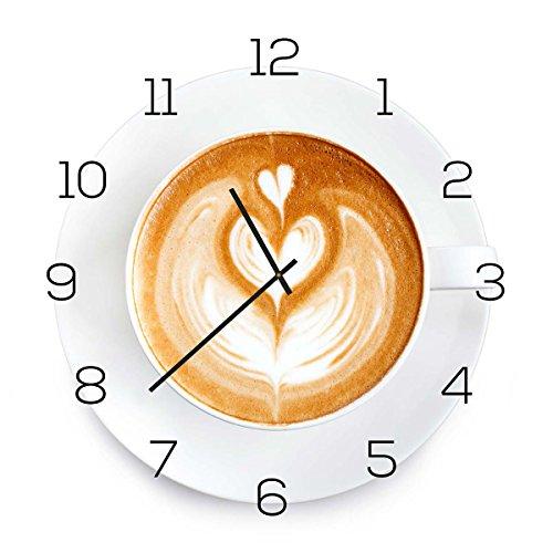 levandeo Wanduhr aus Glas 30x30cm Uhr als Glasbild Küche Cappuchino Kaffee Coffee Deko