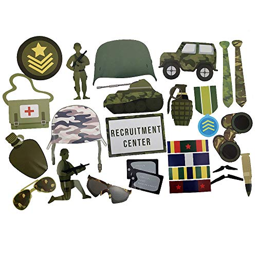Military Photo Props (32 Pieces) for Photo Booths, Birthdays, and More! Our Military Photo Prop Party Favors are Pre-Made (Not DIY) for Your Convenience!