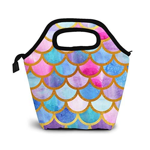 Bolsa de almuerzo con escamas de sirena, bolsa más fresca, bolsa de asas para mujer, lonchera con aislamiento, bolsas de almuerzo térmicas para mujeres/picnic/paseos en bote/playa/pesca/trabajo