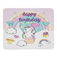 バルーンの美しいユニコーンマウスパッドと誕生日の要素お誕生日おめでとうレインボーデコレーションホワイトグリーンピンクのマウスパッドコンピューターデスク用ラバーマウスマットラップトップオフィスワーク7.9x9.5インチ