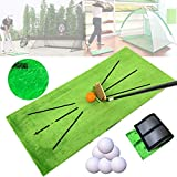 23 inch x 11inch Golf Hitting Mat Indoor and Outdoor,Golf Training Mat- Feedback Traces,Analysis & Correct Your Swing Path (Golf Mat+12pcs Golf PU Ball)