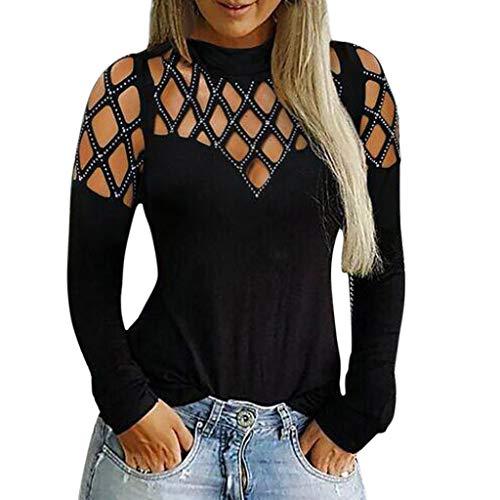 Camicetta T-Shirt Moda Donna Casual Top Manica Lunga Tagliata Scava Fuori Strass (S,Nero)