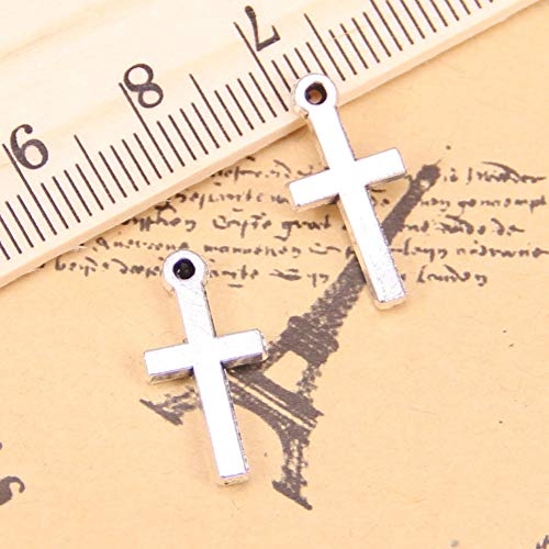 LKJHG 32 Udsencantos para HacerCruz 9x19mm Colgantes chapados en Plata Antigua DIY Collar de Pulsera Hecho a Mano