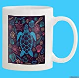 Racoste Eletina Novelty Coffee Mugs Custom Mug 11 Oz Sea Turtle Shells Line Art Style Hand Drawn Top View Coloring Book Set Ocean White Ceramic Gifts Tea Cup