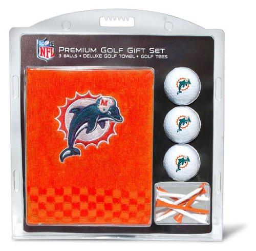 Team Golf Unisex-Erwachsene 31520 NFL Besticktes Handtuch, 3 Golfbälle und Golf-Tee Set, Miami Delfine, Einheitsgröße