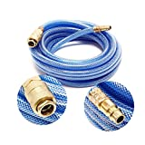 WilTec Tuyau d'air comprimé PVC 5m Compresseur Flexible pneumatique Gaine en Tissu Raccord Rapide